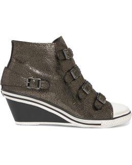 Metallic Cracked-leather Wedge Sneakers