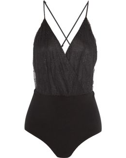 Leanna Corded Lace And Crepe Bodysuit
