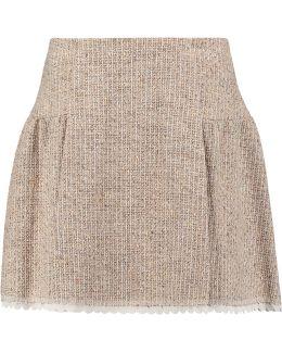 Pleated Tweed Mini Skirt