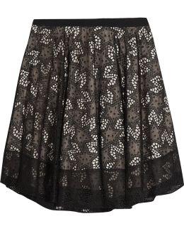 Embroidered Organza Mini Skirt