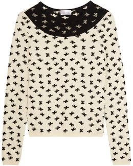 Swiss Dot Tulle-paneled Intarsia-knit Sweater