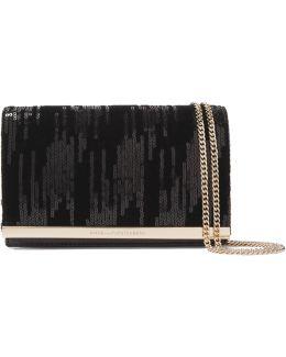 Soirée Embellished Velvet And Leather Shoulder Bag