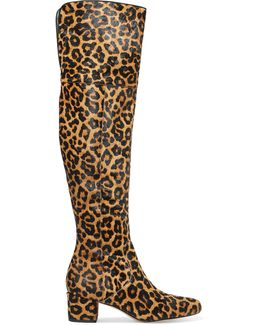 Elina Leopard-print Calf Hair Over-the-knee Boots
