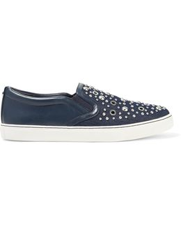 Paven Embellished Leather And Denim Slip-on Sneakers
