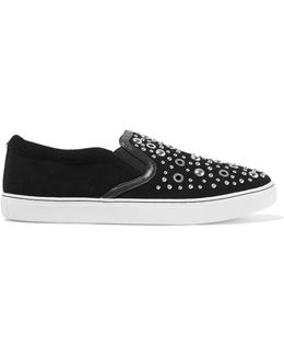 Paven Embellished Leather And Suede Slip-on Sneakers
