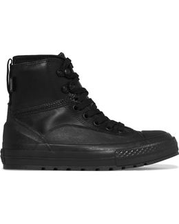 Neoprene-paneled Leather And Rubber High-top Sneakers