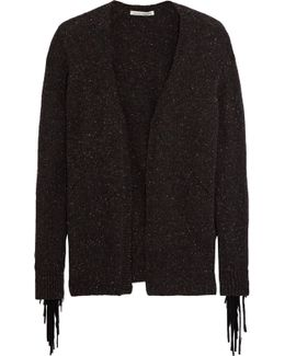 Fringed Suede-trimmed Cashmere Cardigan