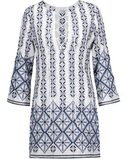 Darla Lace-up Embroidered Cotton-broadcloth Coverup