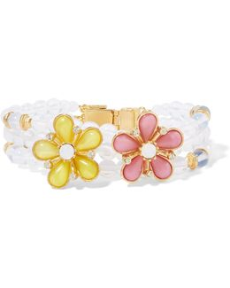 Gold-plated Beaded, Resin And Crystal Bracelet