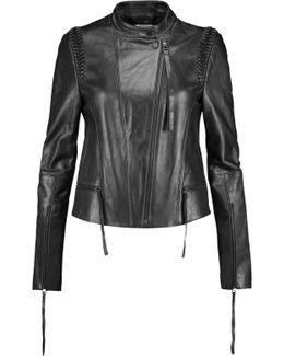 Braided Leather Biker Jacket