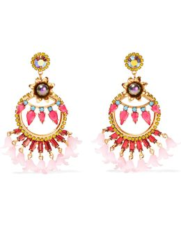 24-karat Gold-plated Swarovski Crystal And Faux Pearl Resin Earrings