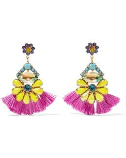 24-karat Gold-plated Stone And Swarovski Crystal Earrings