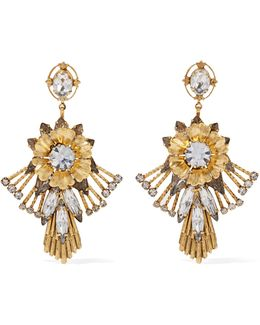 Alisanne 24-karat Gold-plated Crystal Earrings