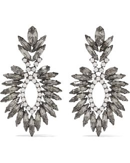 Beverly Gunmetal-tone Crystal Earrings