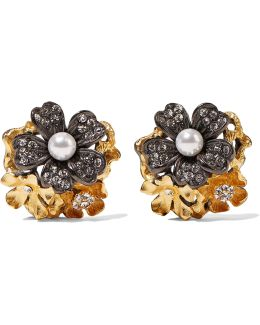 Lila Grace Gunmetal And 24-karat Gold-plated, Faux Pearl And Swarovski Crystal Earrings