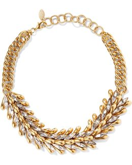 Eden Burnished Gold-tone Crystal Choker