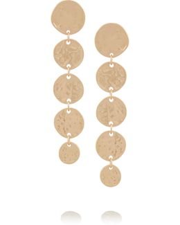 Hammered Gold-plated Coin Drop Earrings