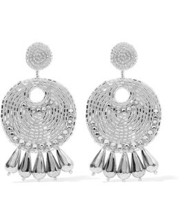 Silver-tone Beaded And Crystal Earrings