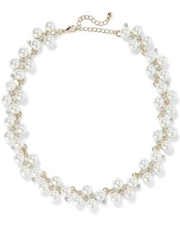 Gold-plated Faux Pearl And Crystal Necklace