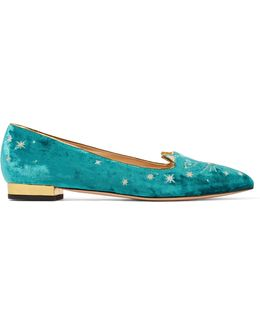 Mid-century Kitty Embellished Embroidered Velvet Point-toe Flats