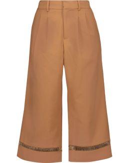 Open Knit-trimmed Cotton-blend Culottes