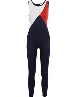 Tallulah Cloqué-paneled Printed Neoprene-jersey Jumpsuit