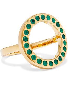 Pop Circle Gold-tone Crystal Ring