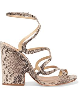 Saveria Snake-effect Leather Sandals
