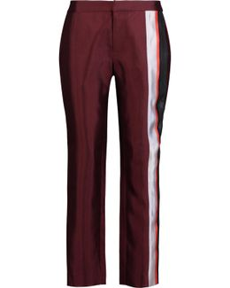 Paneled Silk-blend Straight-leg Pants