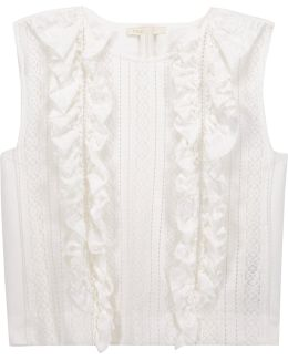 Ruffled Paneled Open-knit And Cady Top