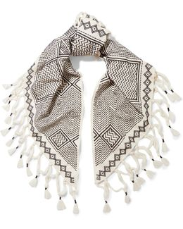 Fringed Embroidered Linen And Cotton-blend Scarf