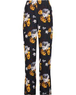 Viewpine Floral-print Silk Crepe De Chine Straight-leg Pants
