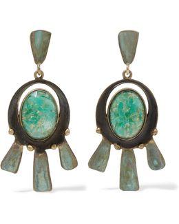 Oxidized Gold-tone Enamel Earrings