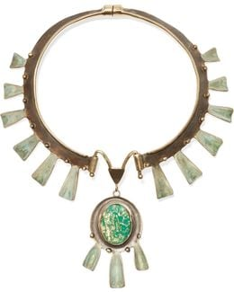 Oxidized Gold-tone Stone Necklace