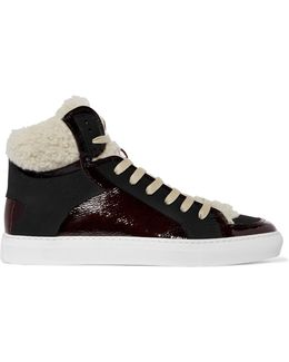 Shearling-trimmed Patent-leather High-top Sneakers