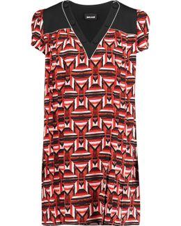 Pleated Printed Crepe Mini Dress