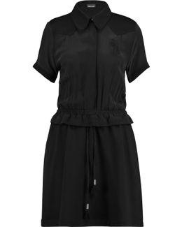 Washed Silk-paneled Ponte Mini Dress