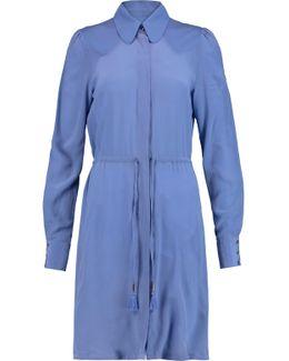 Twill-paneled Washed-silk Shirt Dress