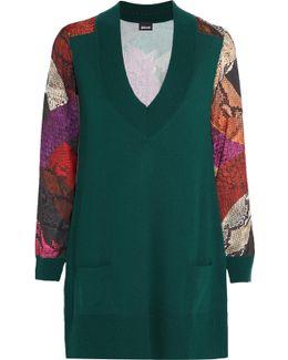 Snake-print Satin-paneled Wool Mini Dress