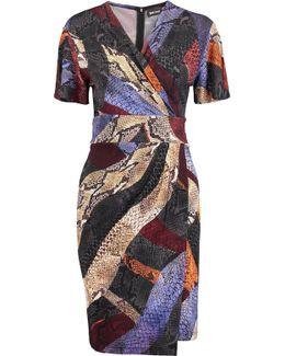 Wrap-effect Printed Stretch-knit Mini Dress