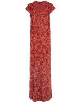Ruffle-trimmed Intarsia-knit Maxi Dress