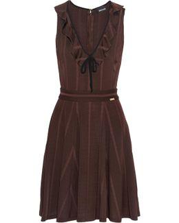Ruffled Ribbed Stretch-knit Mini Dress