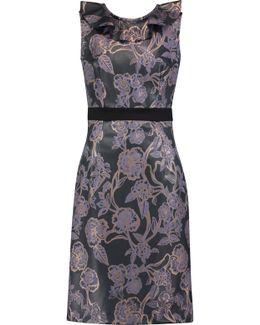 Cutout Floral-print Faux Leather Midi Dress