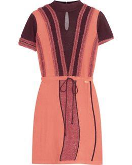Fil Coupé-trimmed Mesh And Stretch-knit Mini Dress