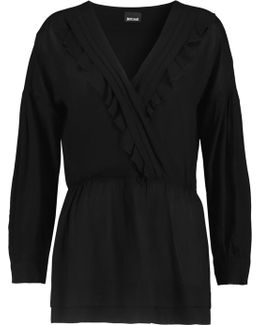 Wrap-effect Ruffle-trimmed Voile Top