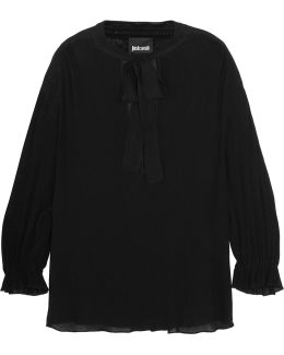 Pussy-bow Chiffon-trimmed Crinkled-georgette Blouse