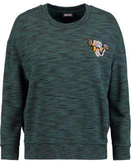 Appliquéd Marled Cotton-terry Sweatshirt