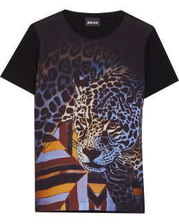 Printed Crepe-paneled Jersey T-shirt