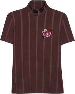 Appliquéd Striped Stretch-knit Top