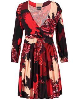 Wrap-effect Printed Satin-jersey Mini Dress